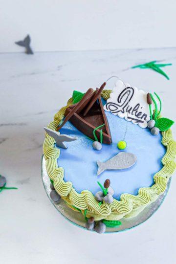 Cake design fan de pêche - vue dessus - patisse et malice