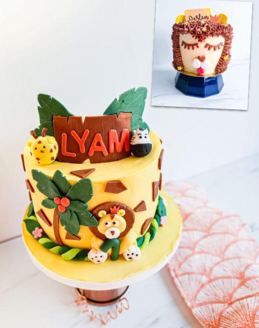 gâteau personnalisé anniversaire jungle - patisse et malice