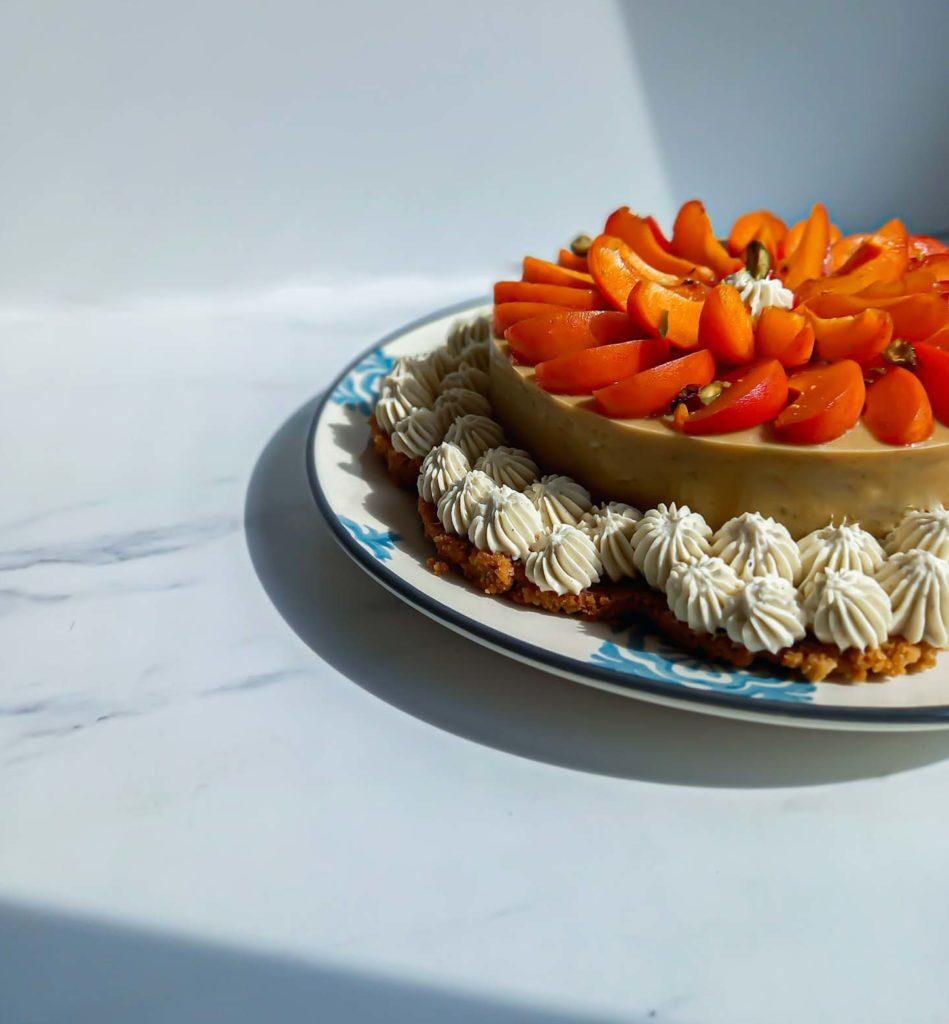 tarte supra sablée rhubarbe abricot ganache montée vanille - patisse et malice
