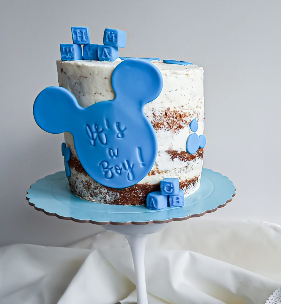 Naked cake baby shower mickey - patisse et malice