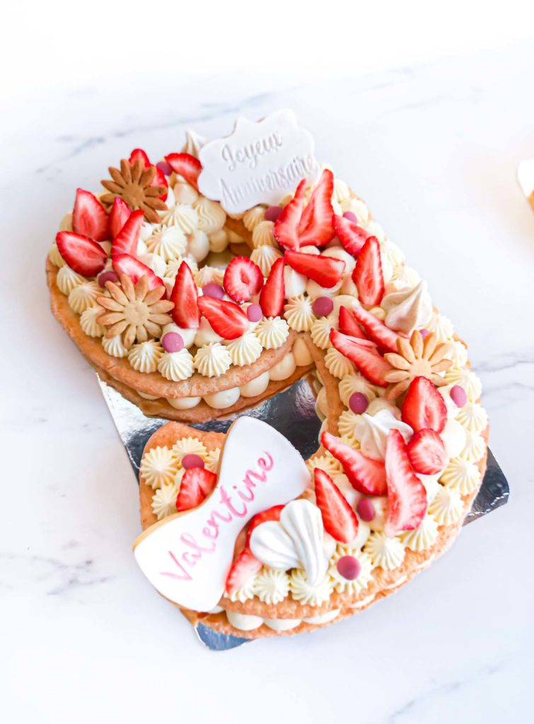 numbercake fraise choco ruby d'anniversaire - patisse et malice