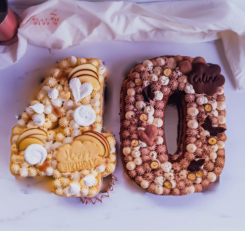Numbercake pommes caramel et numbercake 3 chocolats - patisse et malice